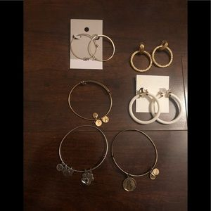 Bundle of earrings and bracelets.